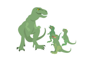 Mother Tyranosaurus with Three Baby Dinosaurs Dinosaurs Craft Cut File By Creative Fabrica Crafts