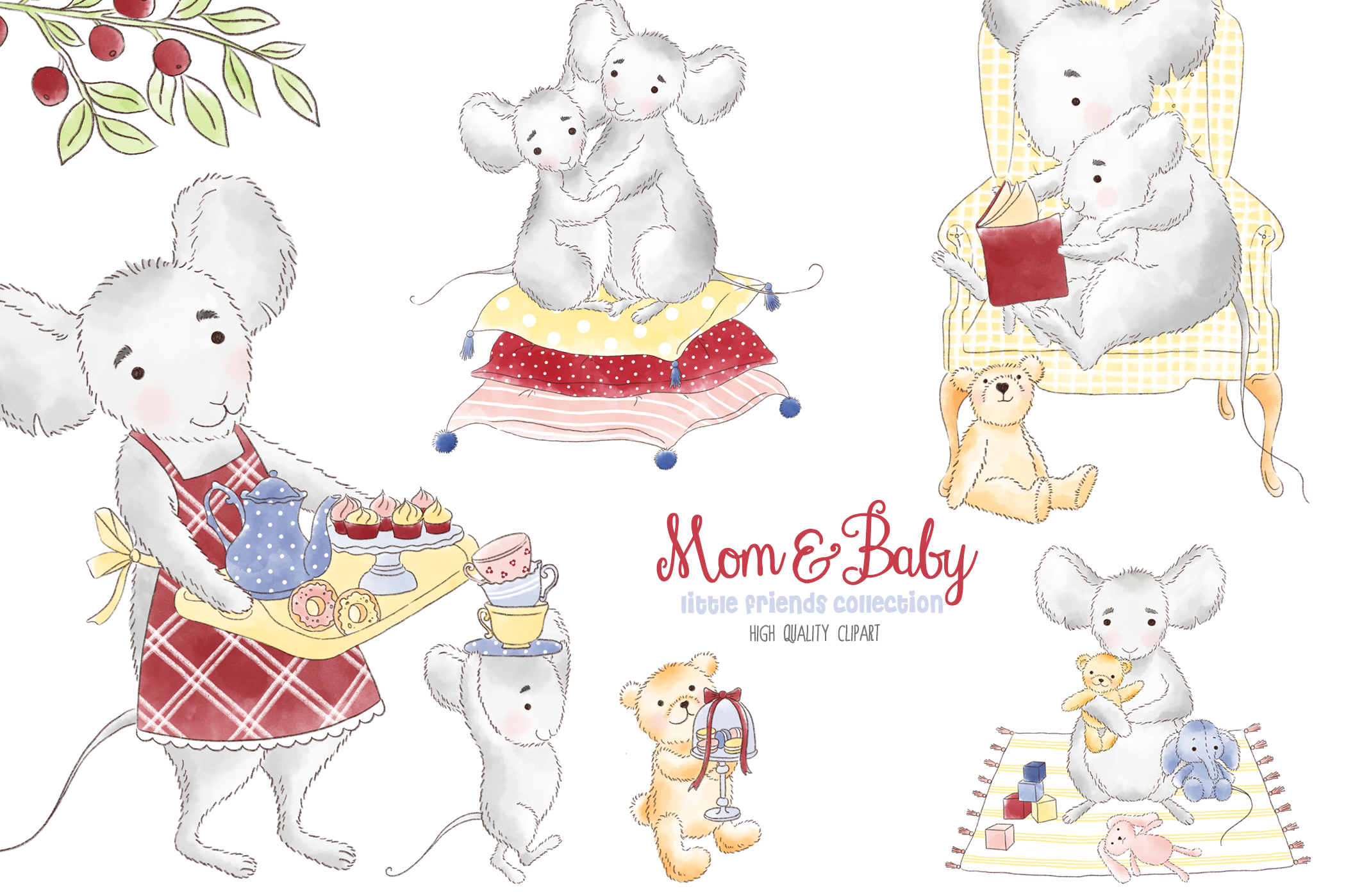 Download Free Mother And Me Mouse Woodland Clipart Graphic By Kabankova for Cricut Explore, Silhouette and other cutting machines.