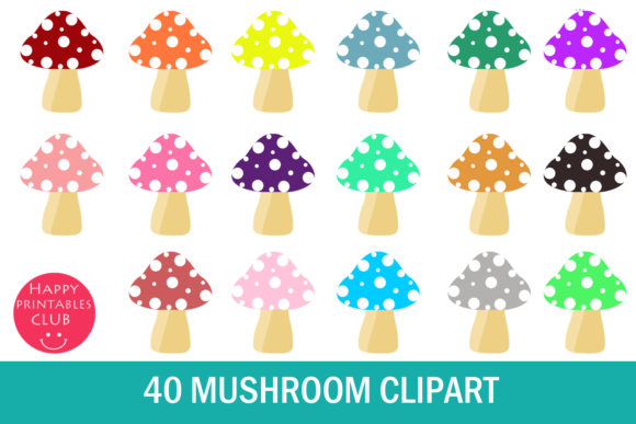 Print on Demand: Mushroom Clipart-Cute Mushroom Clipart Graphic Illustrations By Happy Printables Club - Image 1