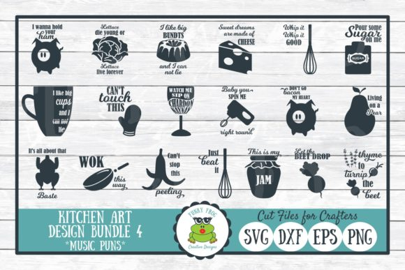 Download Free Music Puns Kitchen Art Bundle Graphic By for Cricut Explore, Silhouette and other cutting machines.