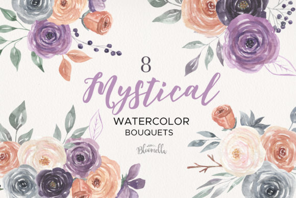 Mystical Watercolor 8 Clipart Bouquets Graphic Illustrations By Bloomella