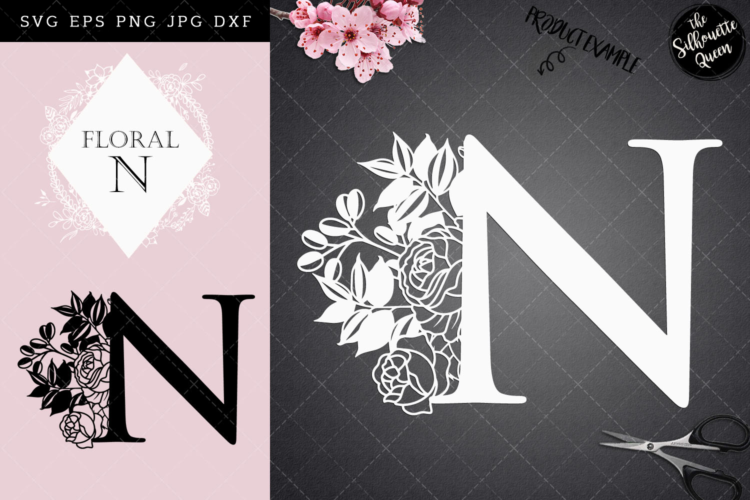 Download Free N Floral Letter Design Graphic By Thesilhouettequeenshop for Cricut Explore, Silhouette and other cutting machines.