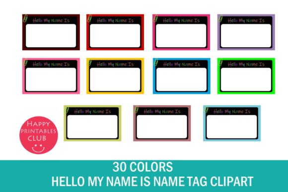 Print on Demand: Name Tag Clipart-School Name Tag Clipart Graphic Illustrations By Happy Printables Club