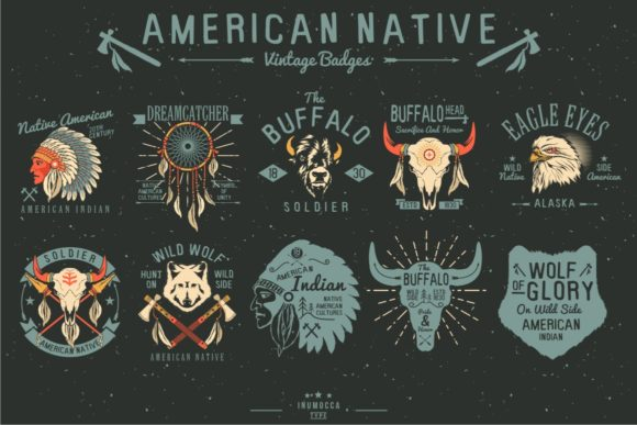 Native Vintage Badges Graphic By inumocca_type