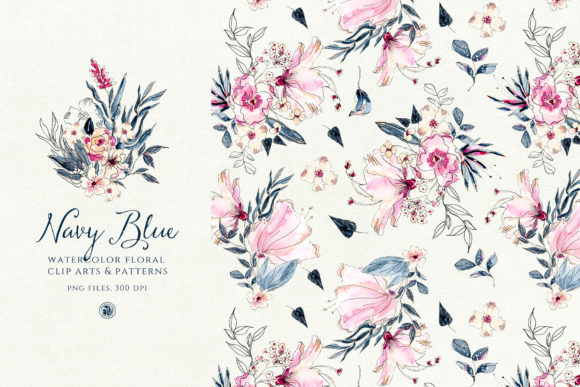 Navy Blue Watercolor Flowers Graphic Illustrations By webvilla - Image 2