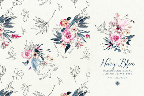 Navy Blue Watercolor Flowers Graphic Illustrations By webvilla - Image 3