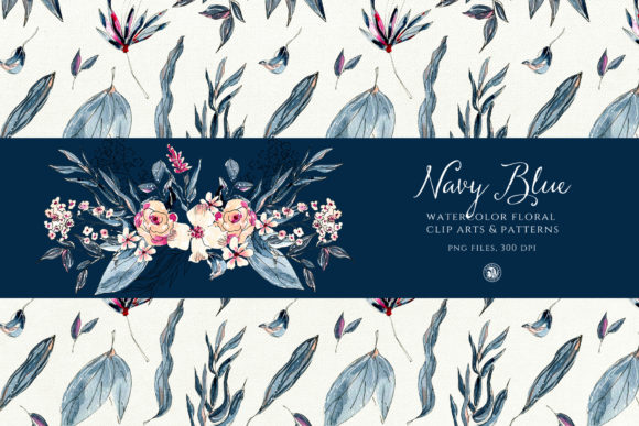 Navy Blue Watercolor Flowers Graphic Illustrations By webvilla - Image 4