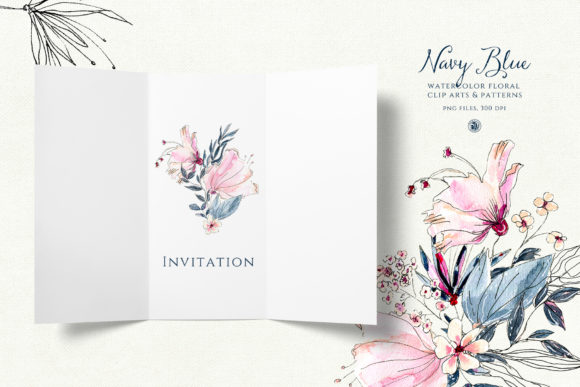 Navy Blue Watercolor Flowers Graphic Illustrations By webvilla - Image 5