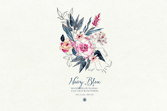 Navy Blue Watercolor Flowers Graphic Illustrations By webvilla - Image 6