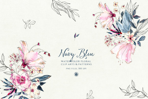 Navy Blue Watercolor Flowers Graphic Illustrations By webvilla