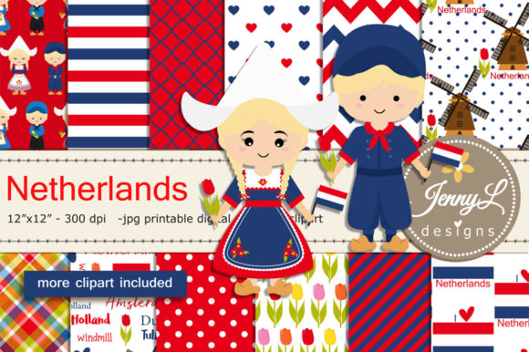 Netherlands Digital Papers and Clipart Graphic Patterns By jennyL_designs