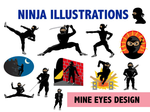 Print on Demand: Ninja Clipart Graphic Illustrations By Mine Eyes Design - Image 1