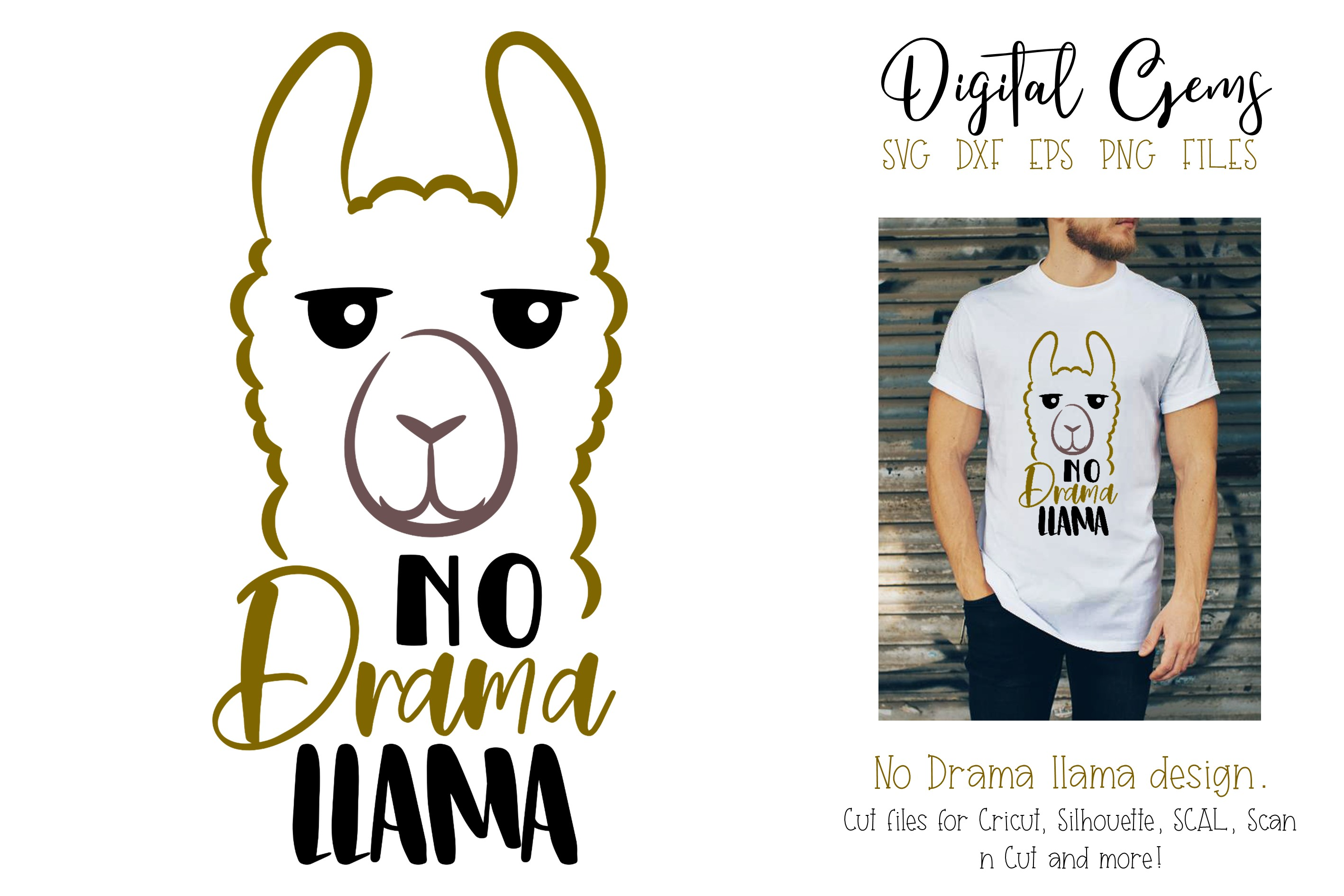 Download Free No Drama Llama Design Graphic By Digital Gems Creative Fabrica for Cricut Explore, Silhouette and other cutting machines.