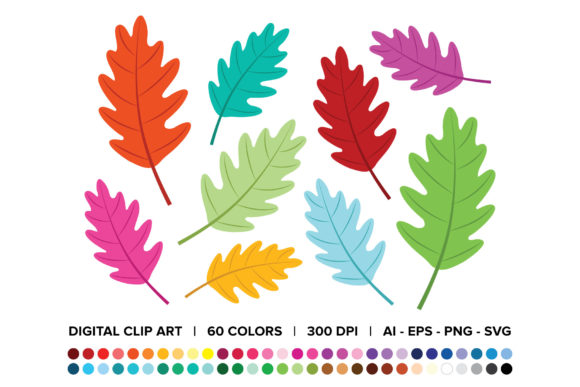 Print on Demand: Oak Tree Leaf Clip Art Set Grafik Objekte von Running With Foxes