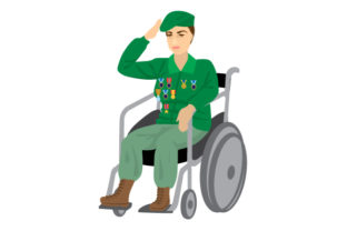 Older Woman Veteran in Wheelchair Saluting Craft Design By Creative Fabrica Crafts