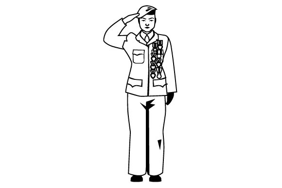 Older Woman Veteran Saluting Military Craft Cut File By Creative Fabrica Crafts - Image 2