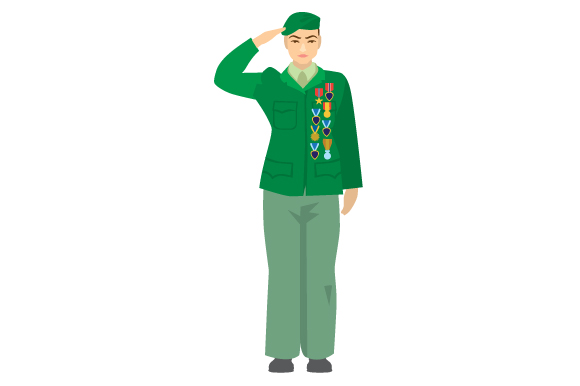Download Free Older Woman Veteran Saluting Svg Cut File By Creative Fabrica for Cricut Explore, Silhouette and other cutting machines.