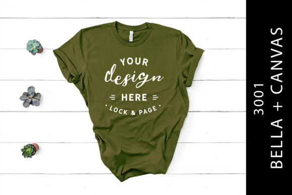 Olive Bella Canvas 3001 T-Shirt Flat Lay Graphic By lockandpage