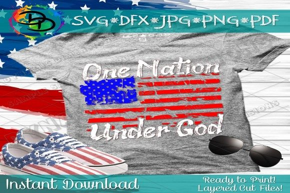 Download Free One Nation Under God Svg Graphic By Dynamicdimensions Creative for Cricut Explore, Silhouette and other cutting machines.