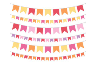 Orange Pink Purple Flag Banner Clip Art Graphic By Running With Foxes