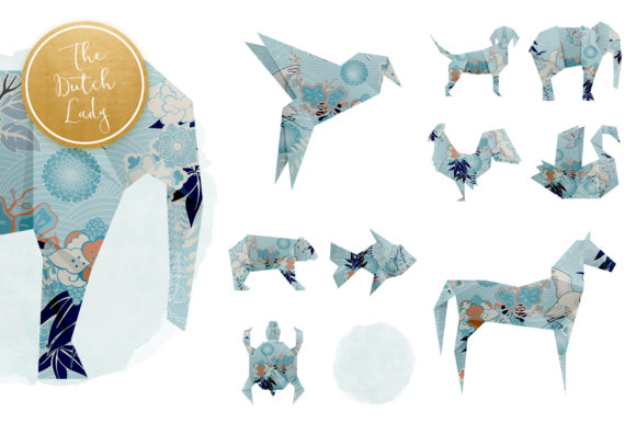 Print on Demand: Origami Animals Clipart Set Graphic Illustrations By daphnepopuliers - Image 4
