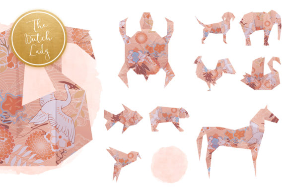 Print on Demand: Origami Animals Clipart Set Graphic Illustrations By daphnepopuliers - Image 5