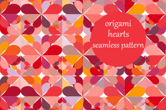 Print on Demand: Origami Hearts Pattern Graphic Patterns By brightgrayart