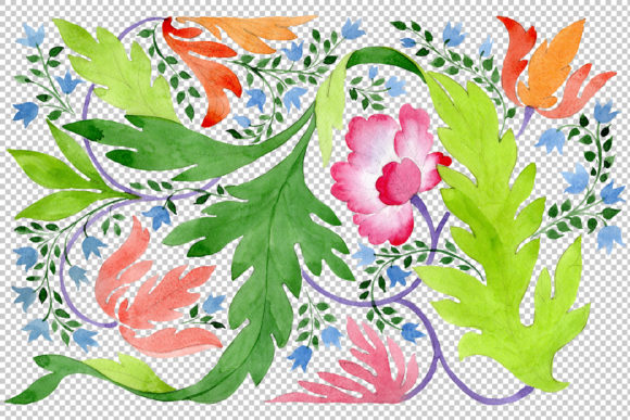 Print on Demand: Ornament of Wildflowers Watercolor Graphic Illustrations By MyStocks - Image 2