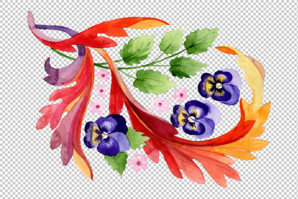 Download Free Ornament With Pansies Watercolor Graphic By Mystocks Creative Fabrica for Cricut Explore, Silhouette and other cutting machines.