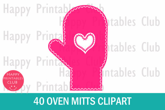 Print on Demand: Oven Mitts Clipart- Mitten Clipart Graphic Illustrations By Happy Printables Club - Image 2