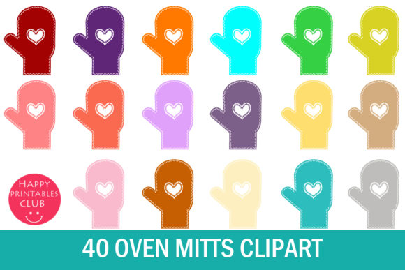Print on Demand: Oven Mitts Clipart- Mitten Clipart Graphic Illustrations By Happy Printables Club