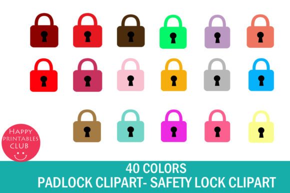 Print on Demand: Padlock Clipart-Key Lock Clipart Set Graphic Illustrations By Happy Printables Club - Image 1