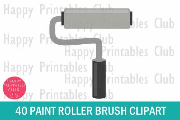 Print on Demand: Paint Roller Brush Clipart - Roller Paint Graphic Illustrations By Happy Printables Club - Image 2
