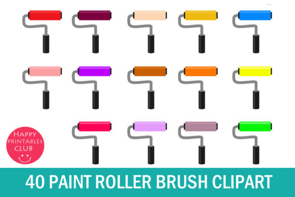 Print on Demand: Paint Roller Brush Clipart - Roller Paint Graphic Illustrations By Happy Printables Club - Image 1