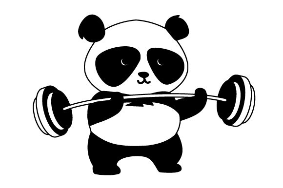 Panda Lifting Weights Motivational Craft Cut File By Creative Fabrica Crafts - Image 2