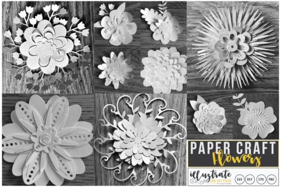 Download Free Paper Cutting Flowers Graphic By Illuztrate Creative Fabrica for Cricut Explore, Silhouette and other cutting machines.