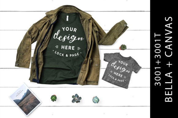 Parent Son Bella Canvas 3001 Mockup Tees Graphic Product Mockups By lockandpage