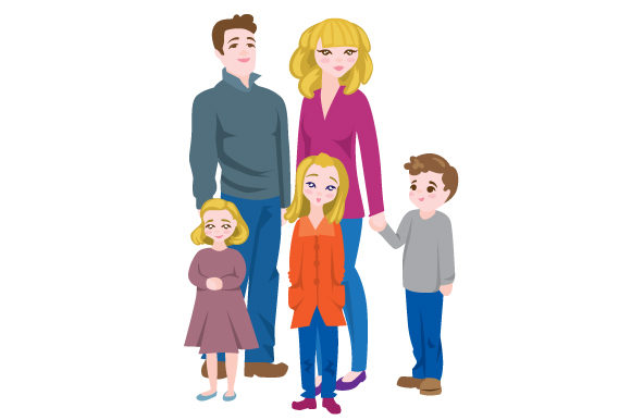 Download Free Parents And Three Children Svg Cut File By Creative Fabrica for Cricut Explore, Silhouette and other cutting machines.