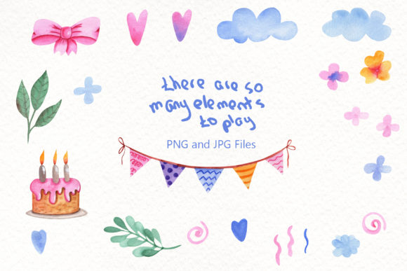 Print on Demand: Party Time Watercolor Collection Graphic Illustrations By tanatadesign - Image 3