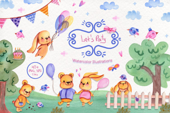 Print on Demand: Party Time Watercolor Collection Graphic Illustrations By tanatadesign - Image 1