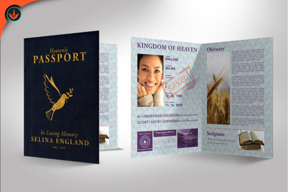 Download Free Passport Funeral Program Template Graphic By Seraphimchris Creative Fabrica for Cricut Explore, Silhouette and other cutting machines.