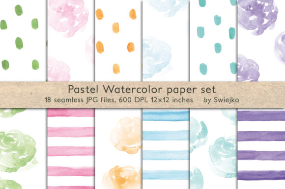 Print on Demand: Pastel Watercolor Background Graphic Illustrations By swiejko