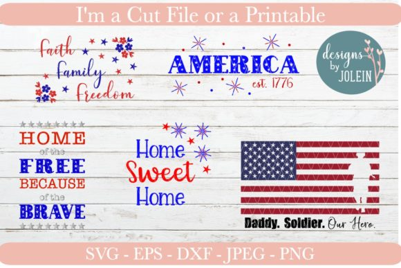 Download Free Patriotic Bundle Graphic By Designs By Jolein Creative Fabrica for Cricut Explore, Silhouette and other cutting machines.