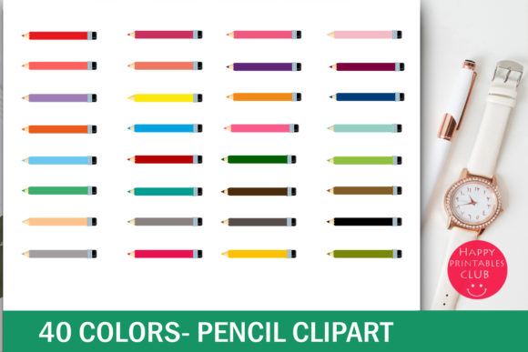 Print on Demand: Pencil Clipart Colorful Pencil Clipart Graphic Illustrations By Happy Printables Club