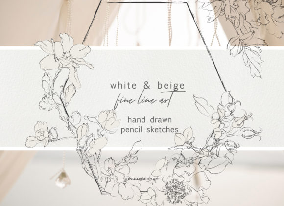 Pencil Sketched Fine Line Flowers Grafik Illustrationen von Patishop Art