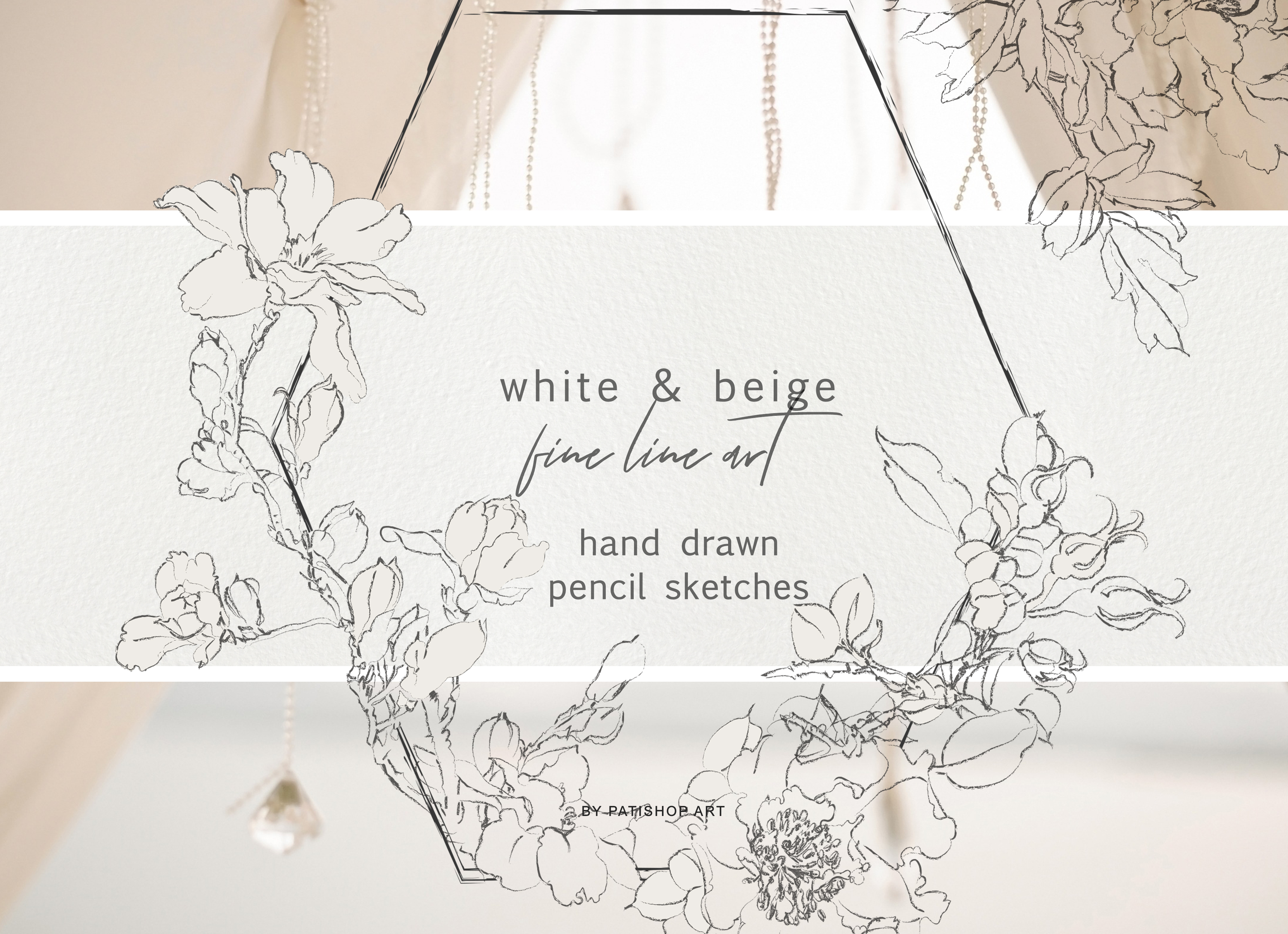 Download Free Pencil Sketched Fine Line Flowers Graphic By Patishop Art for Cricut Explore, Silhouette and other cutting machines.
