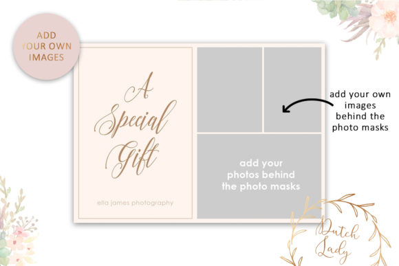 Print on Demand: Photo Gift Card .PSD Template - #15 Graphic Print Templates By daphnepopuliers - Image 3