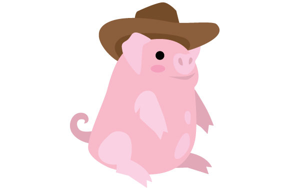 Pig with Cowboy Hat Farm & Country Craft Cut File By Creative Fabrica Crafts - Image 1