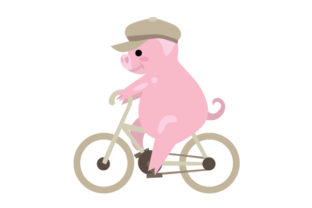 Pig with Flat Cap on Bike Craft Design By Creative Fabrica Crafts
