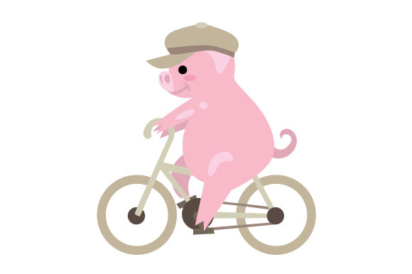 Pig with Flat Cap on Bike Craft Design By Creative Fabrica Crafts Image 1